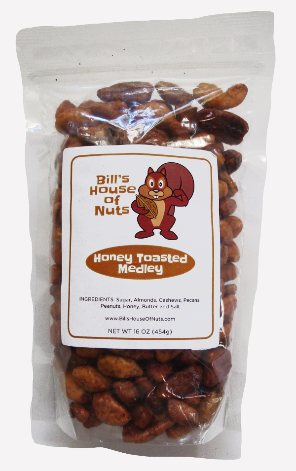 Honey Toasted Nut Mix - Peanuts, Pecans, Cashews, Almonds - 8oz 16oz 28oz bags